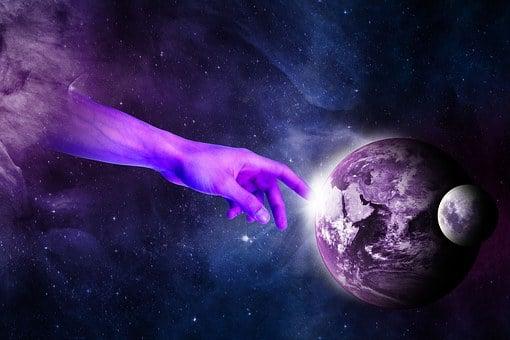 Surreal, Hand, Planet, Heaven, Galaxy
