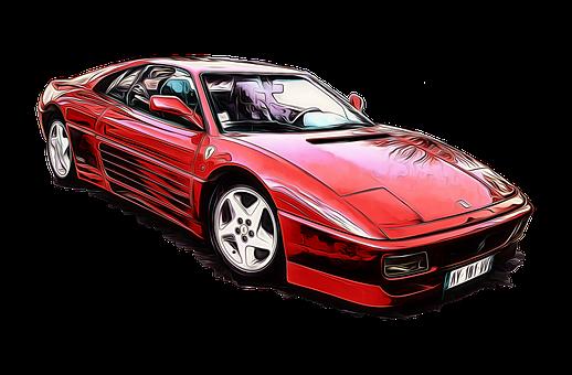Ferrari, F348, Car, Racing Car, Red, Gimp, G'mic