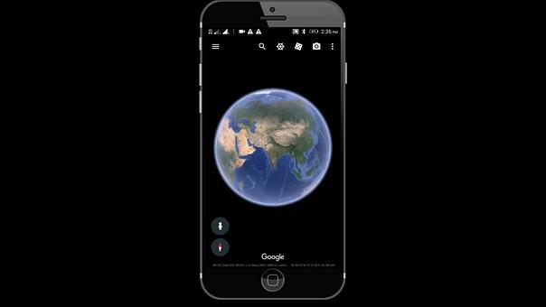Google, Earth, Mobile, Phone, Satellite, Scene, Space