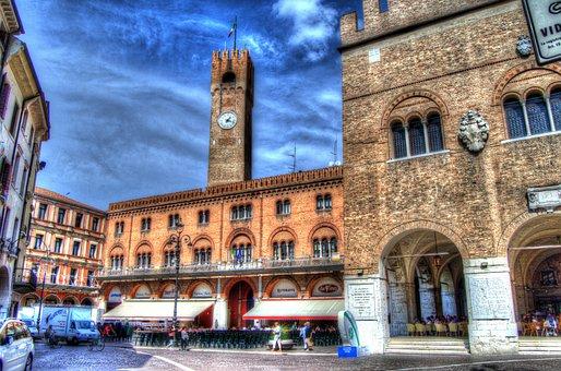 Treviso, Veneto, Italy, Piazza, Portici, Windows, Tents