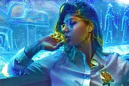 Woman, Blue, Sci-fi, Technology, Female, Face, Portrait