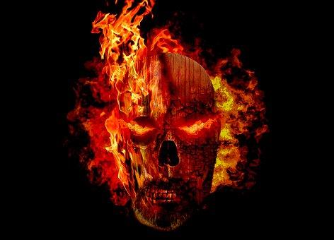 Halloween, Skull, Fire, Zombie, Flames