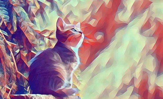 Cat, Polygon, Low Poly, Animal, Feline, Kitten