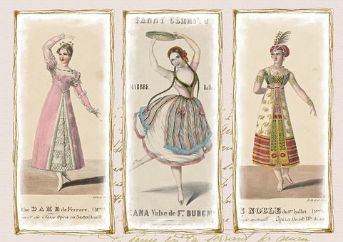 Vintage, Dance, Costume, Dress, 19th Century, Dancing