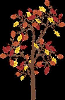 Graphic, Fall Tree, Tree, Leaves, Fall, Brown, Leaf
