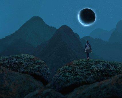 Moon, Eclipse, Starry Sky, Hills, Summit, Mountain, Fog