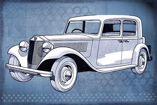 Car, Vintage, Digital, Art, Collage, Blue, Old, Antique