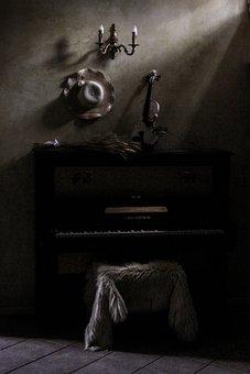 Shadows, Light, Room, Castle, Wood, Piano, Violin
