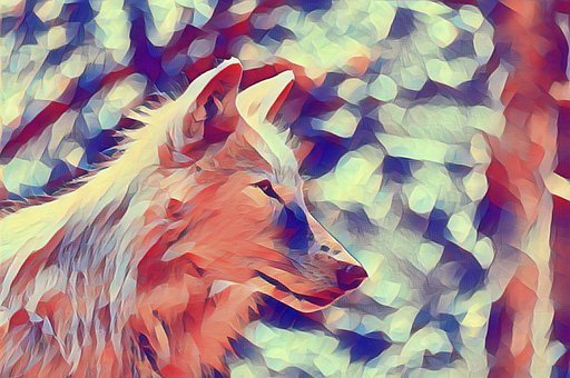 Wolf, Polygon, Animal, Howling, Poly, Colorful