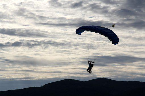A Skydiver, Airport, Sport, A Parachute