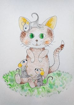 Kitten, Mouse, Illustration, Children's Fairy Tale