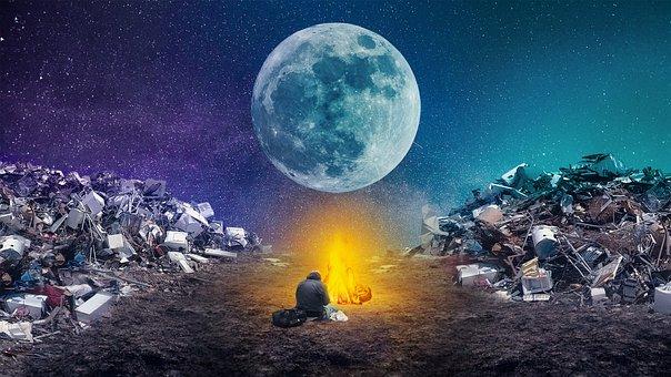 Junkyard, Campfire, Moon, Homeless, Stars, Landfill