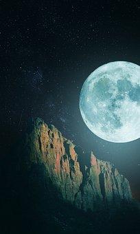 Moonlight, Mountain, Night, Landscape, Sky, Mountains
