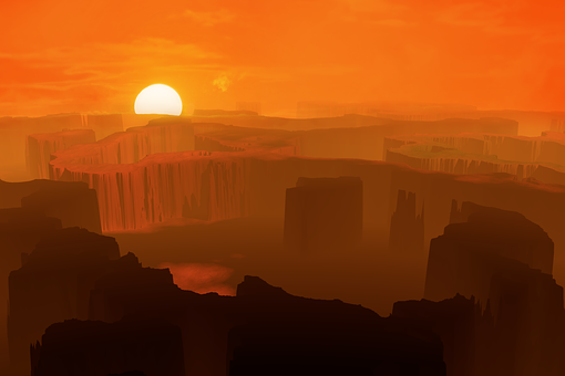 Sun, Sunset, Sunrise, Sky, Mars, Red, Dust, Fantasy
