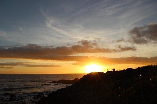 Sunset, California, Ocean, Beach, Water