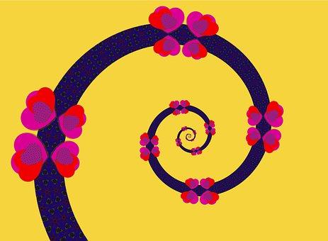 Spiral, Hearts, Love, Yellow, Vine