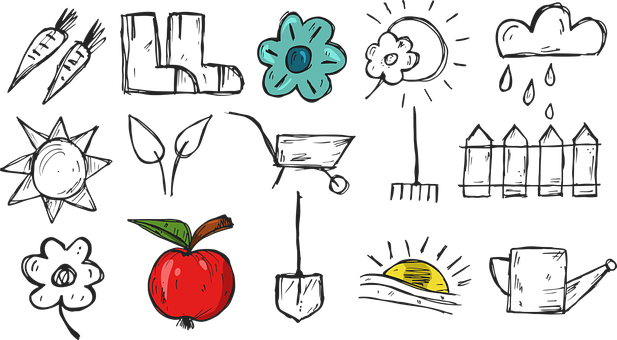 Illustration, Farm, Apple, Gumáky, Cloud, Sun, Fence