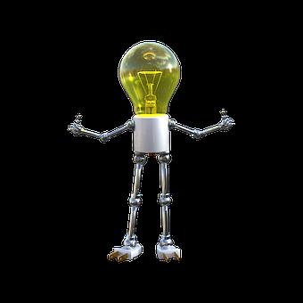 Lightbulb Friend, Glow, Bright, Shiny, 3d Render