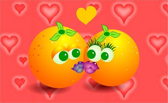 Oranges, Kiss, Kissing, Love, Romance, Fruit, Fruity