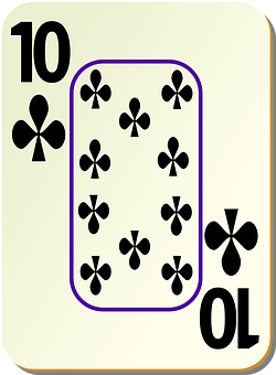 Clubs, Ten, 10, Playing Cards, Leisure, Play, Poker