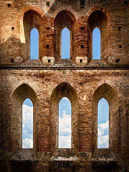 Ruin, Old Church, Window, Arches, Sky, Tuscany, Mood
