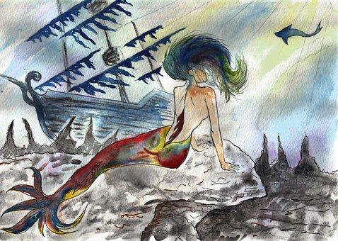 Mermaid, Shipwreck, Sea Bottom, Ocean