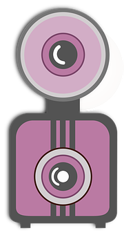 Camera, Flat, Clip Art, Vintage, Pink, Icon, Equipment