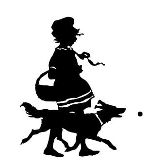 Silhouette, Vintage, Girl, Dog