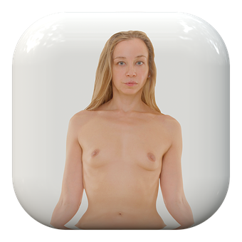 Button, Woman, Naked, Upper Body
