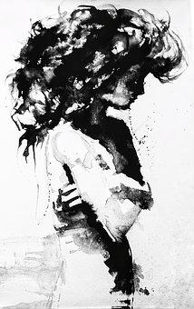 B W, Drawing, Painting, Girl, Female, Big, Hair, Upper