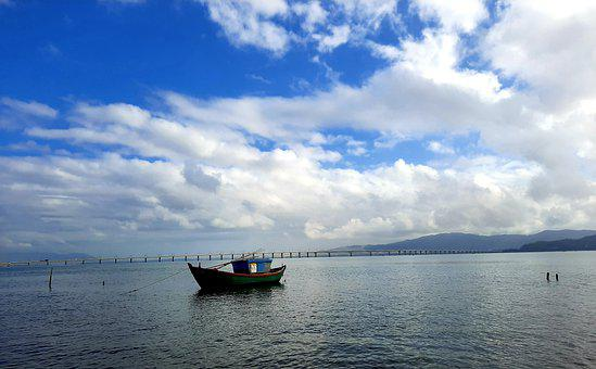 Sea, Ship, Boat, Sky, Water, Backgrounds, Alone, Blue