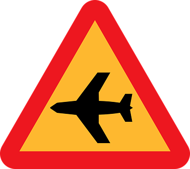 Low Flying Aircraft, Sudden Noise, Roadsign, Road Sign