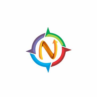N, Letter, Compass, Logo, Direction