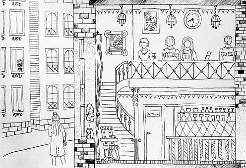 Café, Bistro, Art, Sketch, City, People, For The Book