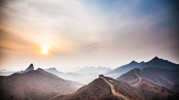 Greatwall, The Great Wall, Sunrise, The Scenery, Sun