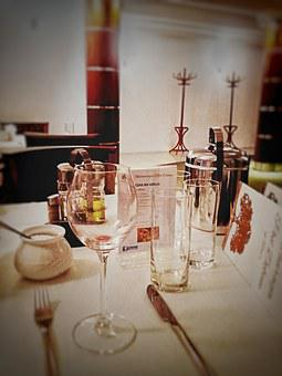 A Glass Of, Glass, Restaurant, Cutlery, Tablecloth