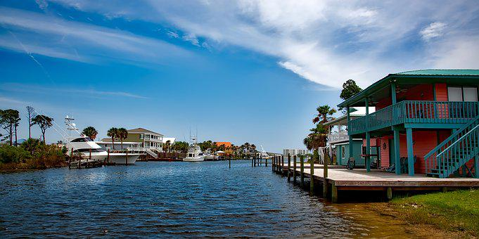 Gulf Shores, Alabama, Sky, Clouds, Bay, Inlet, Canal