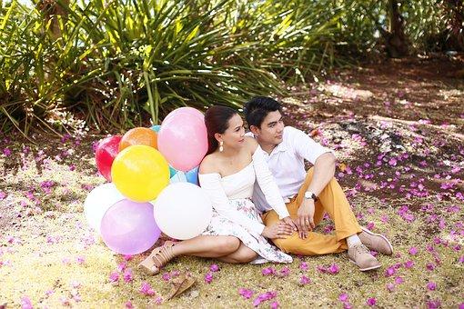 Couple, Nice View, Balloon, Cute, Love, Nice, Side