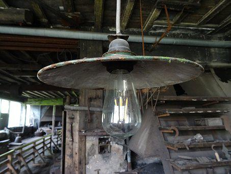 Lamp, Old, Ceiling Lamp, Nostalgic, Decay, Electrically