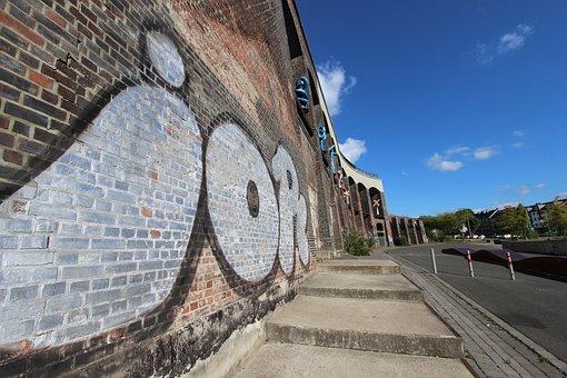 Grafitti, Wall, Art, Bochum, Facade, Painting, Stones