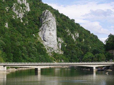 Relief, King Decebalus, Rock, Danube, Bay, Tributary