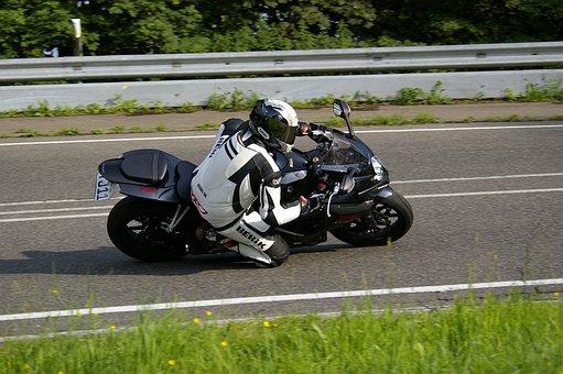 Motorcycle, Knee Grind, Suzuki, Curve, Man, Eifel