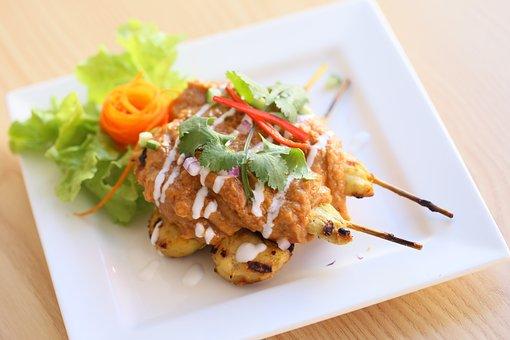 Thai Food, Satay Chicken, Skewer
