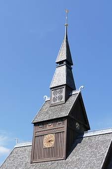 Stave Church, Bell Tower, Clock Tower, Roof