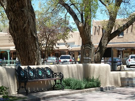 Taos, City, Market Place, Bench, Trees, Building