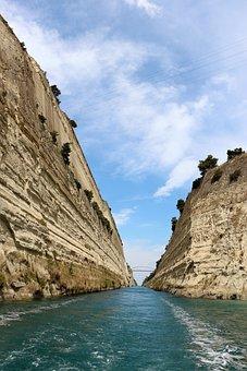 Corinth, Channel, Ships, Greece, Sea, Water