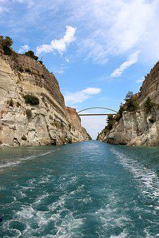 Corinth, Channel, Corinth Canal, Greece, Waterway