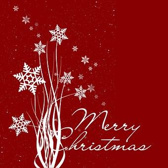 Christmas Card, Christmas, Red, White, Snow, Star