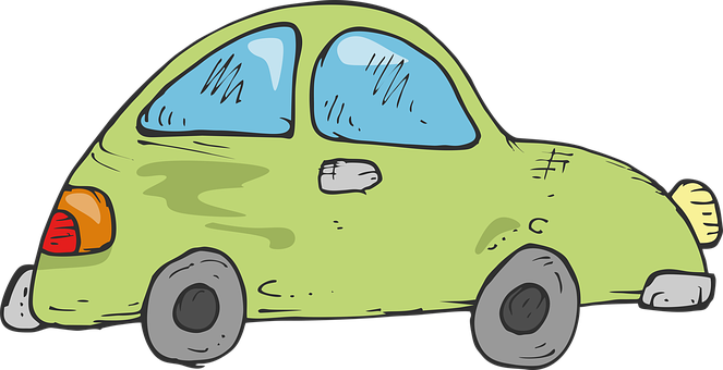 Drawing, Green Car, Childrens Car