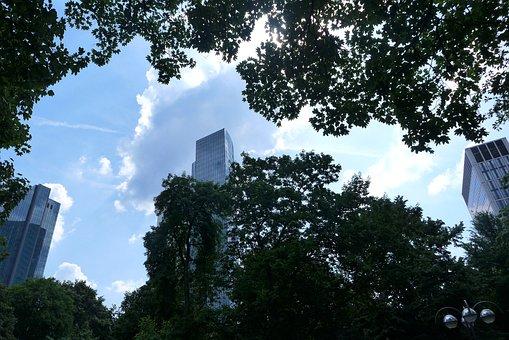 Frankfurt, Sky, High, Skyscraper, Clouds